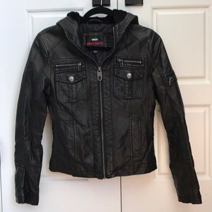 Black leather coat with hood
